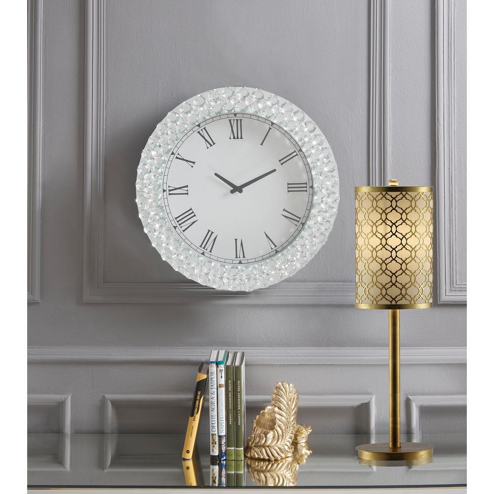 3e4b34ffd1 Acme Furniture Lantana Mirrored and Faux Crystals Wall Clock 97043 ...