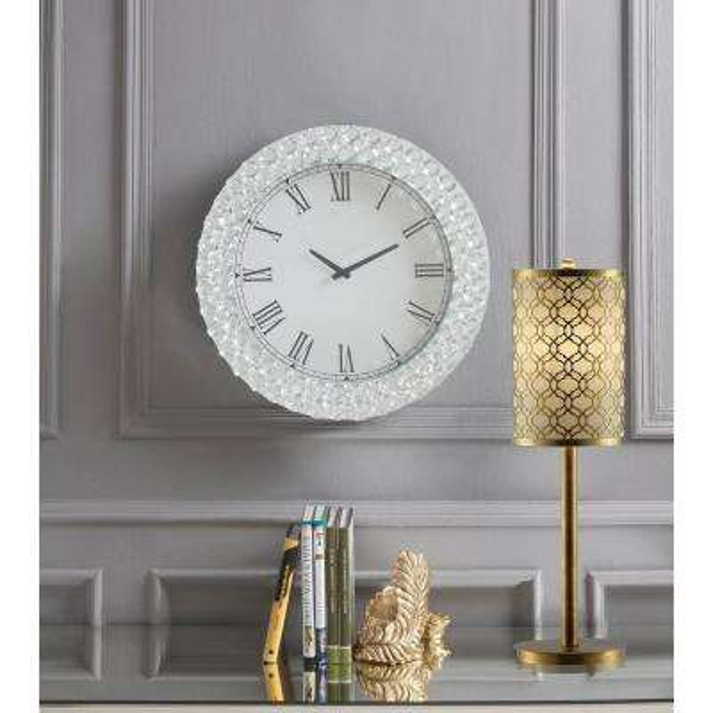 Nysa Mirrored and Faux Crystals Wall Clock