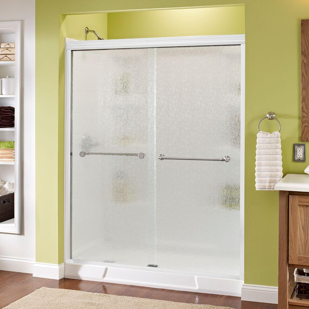 Delta Mandara 60 in. x 70 in. Semi-Frameless Sliding Shower Door in White with Nickel Handle and Rain Glass
