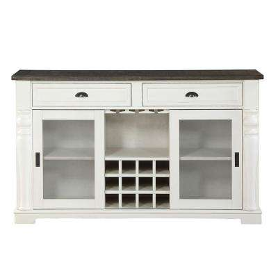 Joanna Two Tone Farmhouse Server with Glass Doors