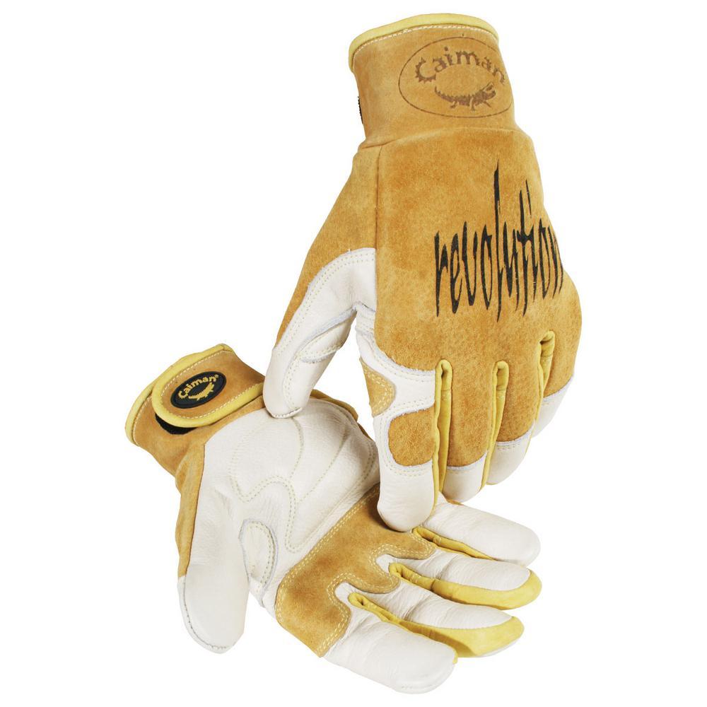 Medium Gold Ergonomic Cow Grain Multi-Task Gloves
