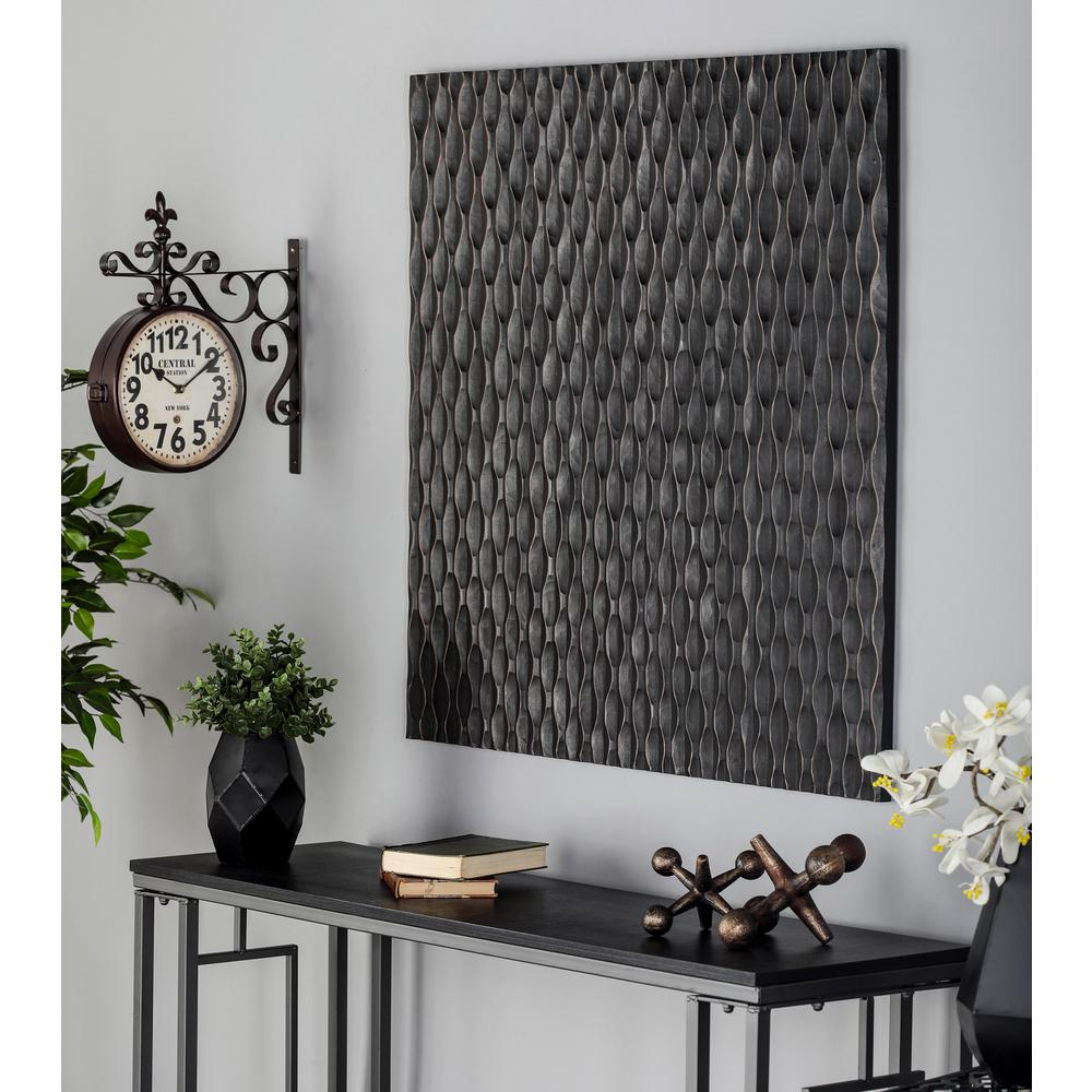 36 in. x 36 in. Carved Vertical Wavy Lines Wooden Wall