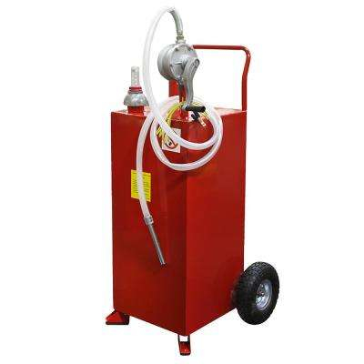 30 Gal. Portable Gas Caddy Fuel Transfer Storage Tank Rolling Gas Can