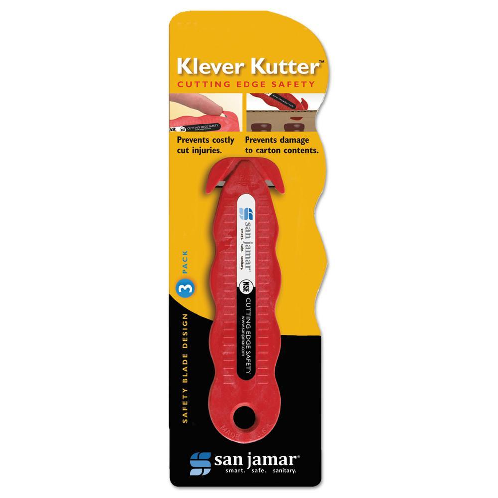 San Jamar Red Klever Kutter Safety Cutter (Pack of 3)