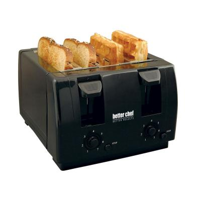 4-Slice Dual-Control Black Toaster