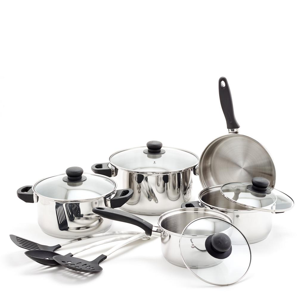 12-Piece Stainless Steel Cookware Set & Kitchen Tools