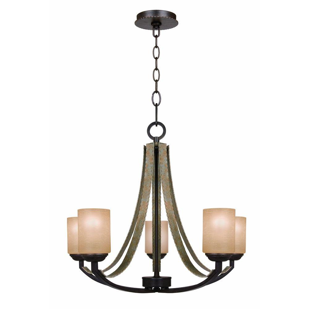 Home Depot Dining Room Chandeliers: Hampton Bay Croft 5-Light Olive Stone Chandelier-27205