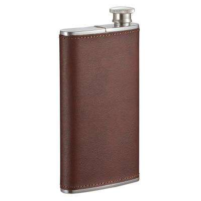 Edian Stainless Steel and Brown Leather Wrapped Flask with Built-in Cigar Case