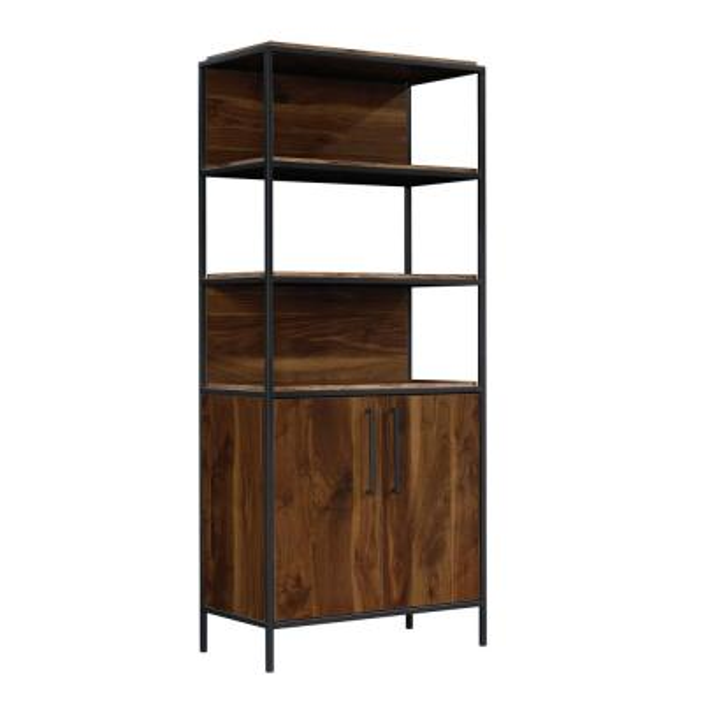 Nova Loft 76 in. Grand Walnut Metal and Engineered Wood 5-Shelf Bookcase with Doors
