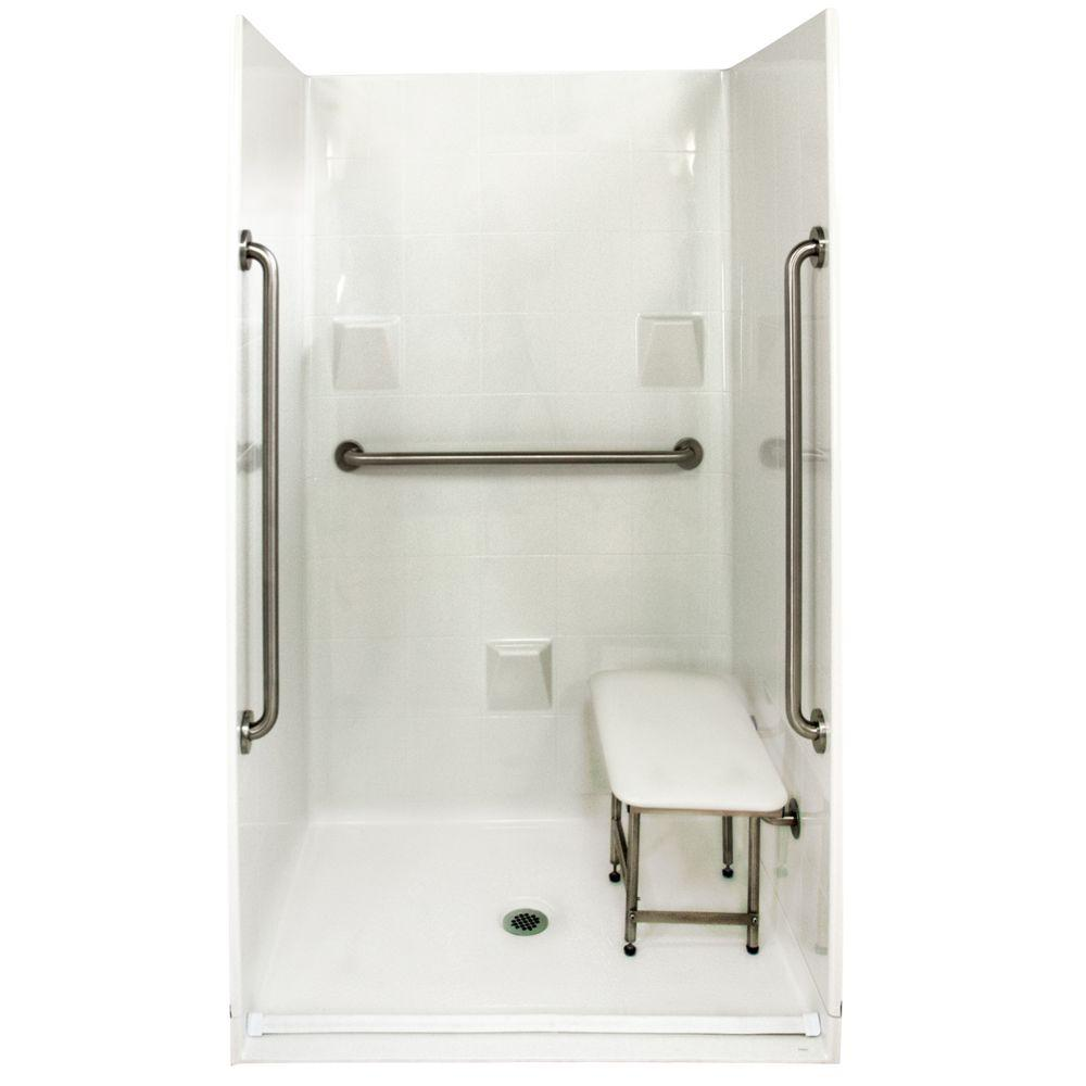 corner fiberglass shower stalls. Standard Plus 36 37 in  x 48 78 Barrier Free Fiberglass Shower Stalls Kits Showers The Home Depot