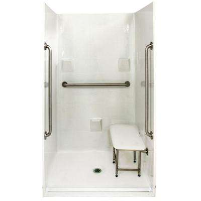 Standard Plus 36 37 in. x 48 in. x 78 in. Barrier Free Roll-In Shower Kit in White with Center Drain