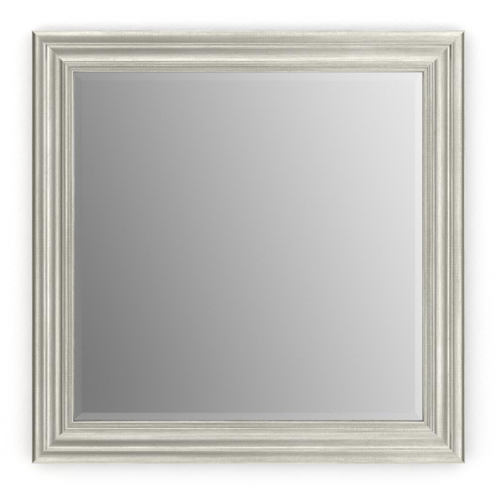 33 in. W x 33 in. H (L2) Framed Square Deluxe Glass Bathroom Vanity Mirror in Vintage Nickel