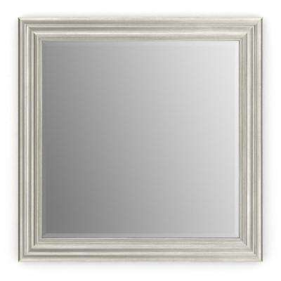 33 in. x 33 in. (L2) Square Framed Mirror with Deluxe Glass and Float Mount Hardware in Vintage Nickel