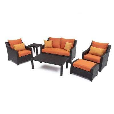 Deco 6-Piece Patio Seating Set with Tikka Orange Cushions