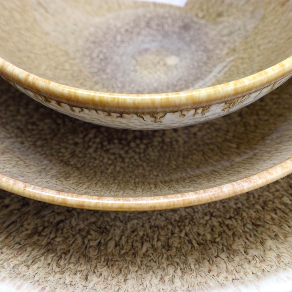Elite 12-Piece Ombr Chestnut Double Bowl Dinnerware Set