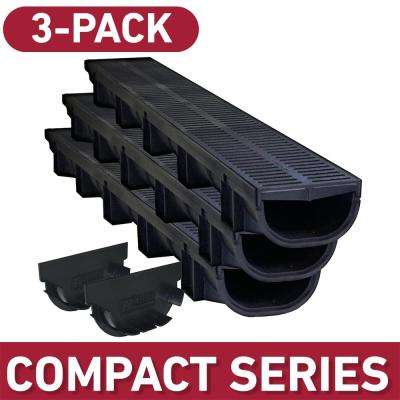 Compact Series 5.4 in. W x 3.2 in. D x 39.4 in. L Trench and Channel Drain Kit with Black Grate (3-Pack : 9.8 ft)
