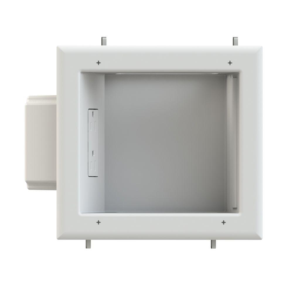 Commercial Electric  Low-Voltage Recessed Media Plate with Duplex Receptacle