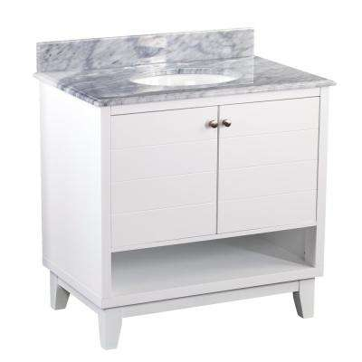 Harmon 34 in. W x 22 in. D Bath Vanity in White with Marble Vanity Top in Gray with White Basin