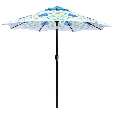9 ft. Steel Market Crank and Tilt Pattern Patio Umbrella in Green and White