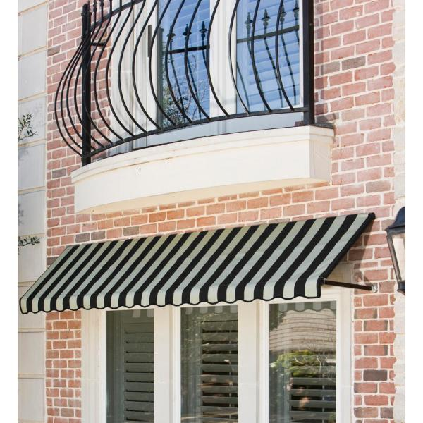 Awntech 8 38 Ft Wide Dallas Retro Window Entry Awning 44 In H X 24 In D Black Tan Rt32 8kt The Home Depot