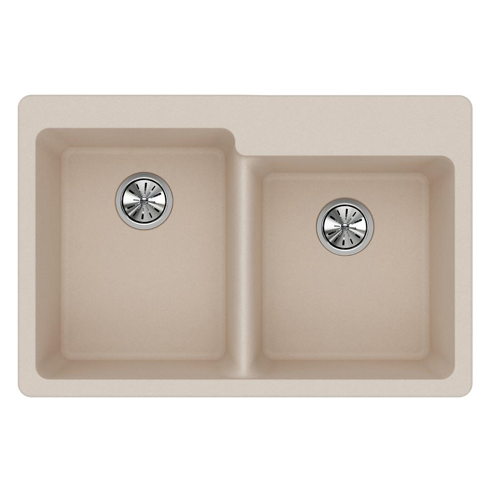 Elkay Quartz Classic Drop In Composite 33 In. Double Bowl Kitchen Sink In  Putty ELG250RPT0   The Home Depot