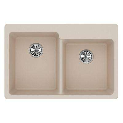 Quartz Classic Drop-In Composite 33 in. Double Bowl Kitchen Sink in Putty