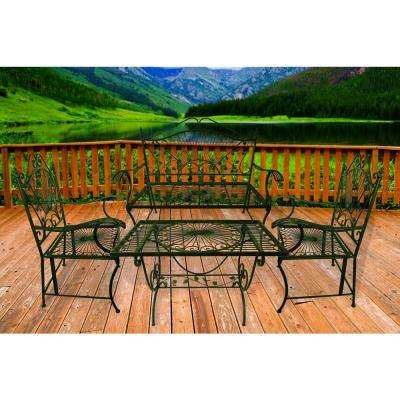 Bronze 4-Piece Metal-Iron Patio Table-Chair and Bench Victorian Chat Set