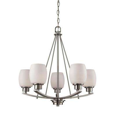 Casual Mission 5-Light Brushed Nickel Chandelier With White Lined Glass Shades