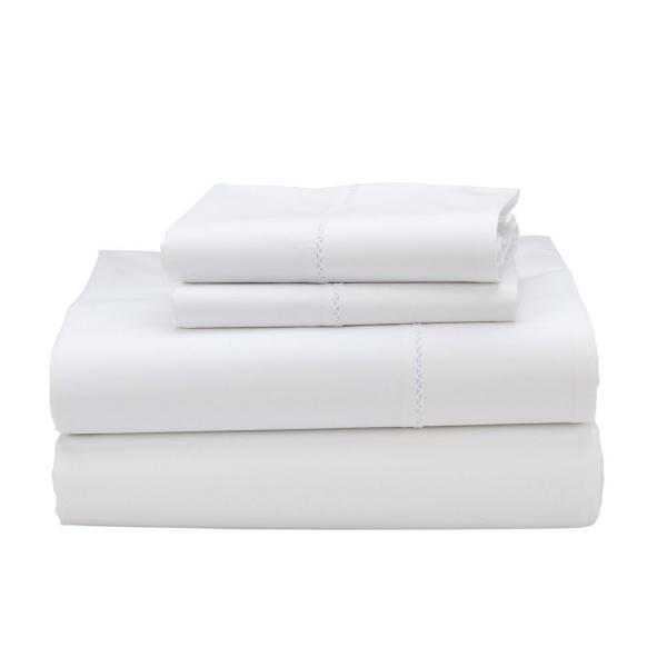 Organic 4-Piece White Solid 300 Thread Count Cotton Sateen King Sheet Set