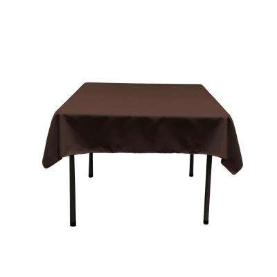 58 in. x 58 in. Brown Polyester Poplin Square Tablecloth