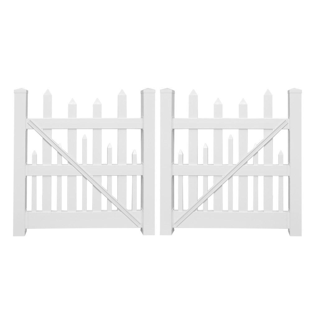 Salem 8 ft. W x 5 ft. H White Vinyl Picket Fence Double Gate Kit