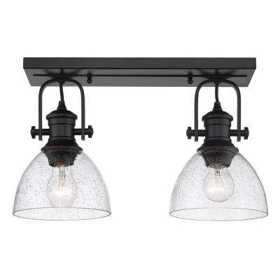 Hines 7 in. Black with Seeded Glass 2-Light Semi-Flush Mount