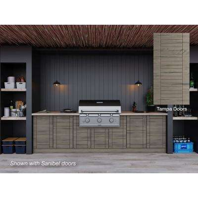 Tampa Weatherwood 17-Piece 121.25 in. x 34.5 in. x 28 in. Outdoor Kitchen Cabinet Set