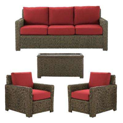Laguna Point Brown 4-Piece Wicker Outdoor Patio Deep Seating Set with CushionGuard Chili Red Cushions