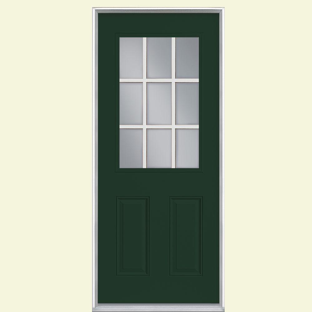 32 in. x 80 in. 9 Lite Conifer Left Hand Inswing Painted Smooth Fiberglass Prehung Front Door, Vinyl Frame