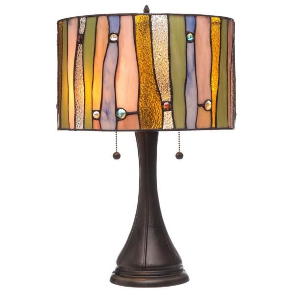 Contemporary Tiffany 22 in. 2-Light Bronze Table Lamp