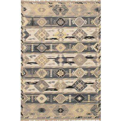Esme Ivory, Dark Grey 5 ft. x 8 ft. Indoor Area Rug