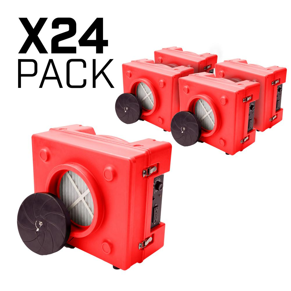 B-Air 1/3 HP 2.5 Amp HEPA Air Scrubber Purifier for Water Damage Restoration Negative Air Machine in Red (24-Pack)
