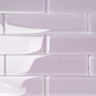 Contempo Purple 2 in. x 8 in. x 8mm Polished Glass Floor and Wall Tile (1 sq. ft.)