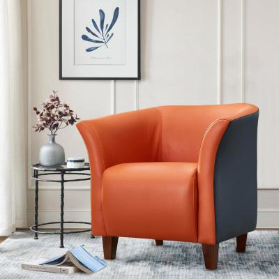 Orange Accent Chair Modern Arm Club Chair Faux Leather Tub Barrel Style for Living Room Bedroom Reception Room