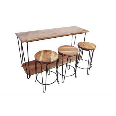 Contemporary Brown Finish, Wood & Iron Console Table With Stools (Set of 3)