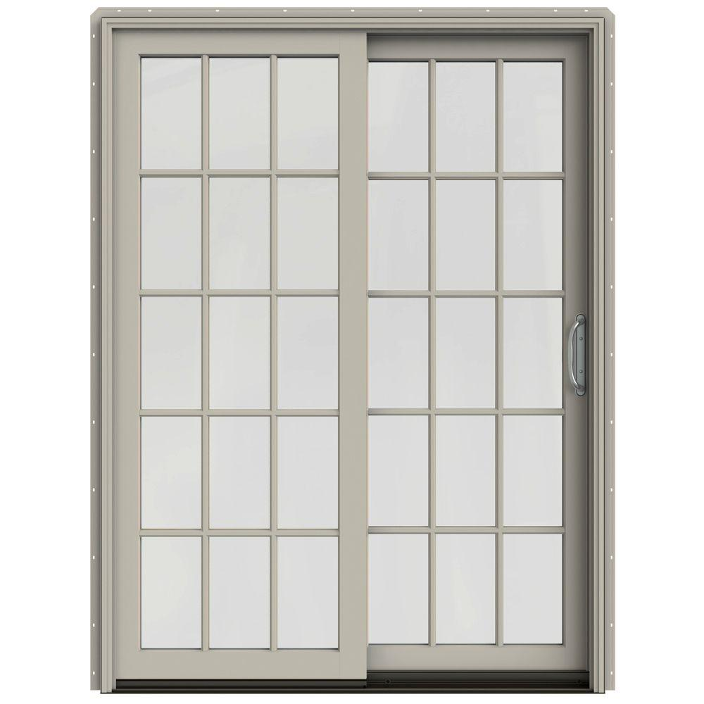JELD-WEN 60 in. x 80 in. W-2500 Contemporary Desert Sand Clad Wood Right-Hand 15 Lite Sliding Patio Door w/White Paint Interior