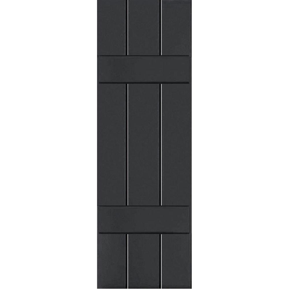 Ekena Millwork 12 in. x 52 in. Exterior Composite Wood Board and Batten Shutters Pair Black
