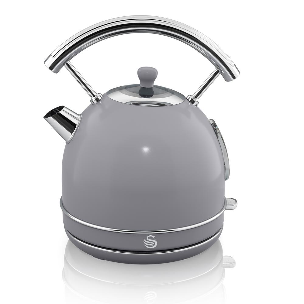 Retro 1.7 l Grey Dome Kettle Power up your kitchen design with the chic, mid-century modern lines of Swan's Retro Style Dome Kettle. This cordless design swivels 360° and lifts off the power base for safe, easy pouring and filling. Compliments any kitchen. Color: Grey.