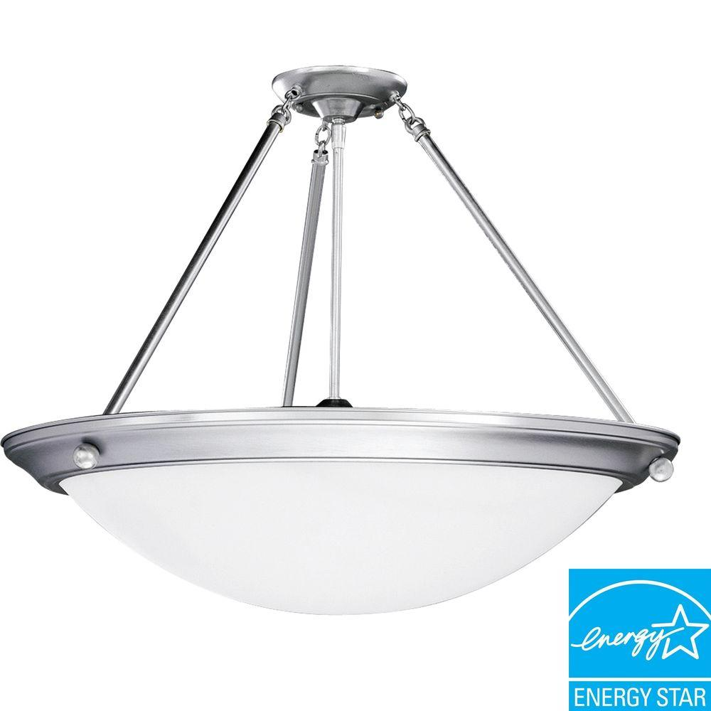 Progress Lighting Eclipse Collection Brushed Steel 4-light Semi-flushmount-DISCONTINUED