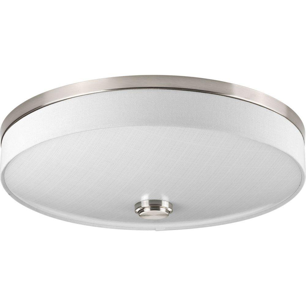 16 in. Weaver Collection 2-Light Brushed Nickel Integrated LED Flushmount