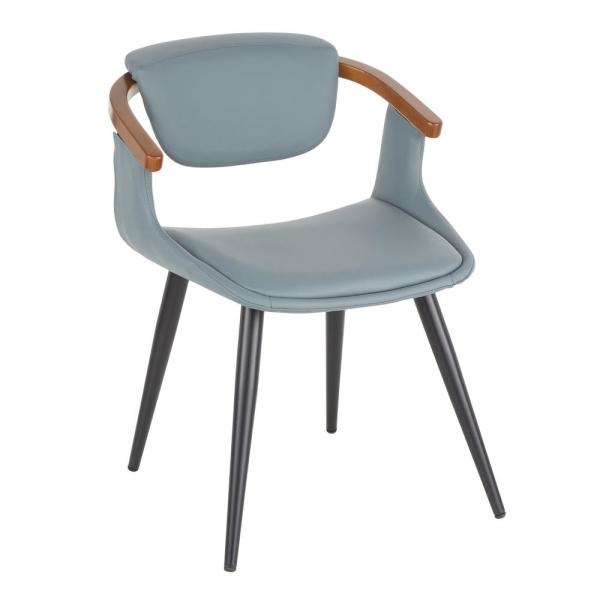 Oracle Mid-Century Modern Dining Chair in Grey Faux Leather  and  Black Metal with Walnut Wood Accents