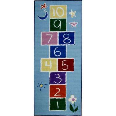 Fun Time Primary Hopscotch Multi Colored 19 in. x 29 in. Area Rug