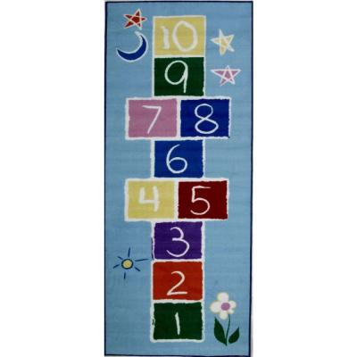 Fun Time Primary Hopscotch Multi Colored 3 ft. x 7 ft. Area Rug