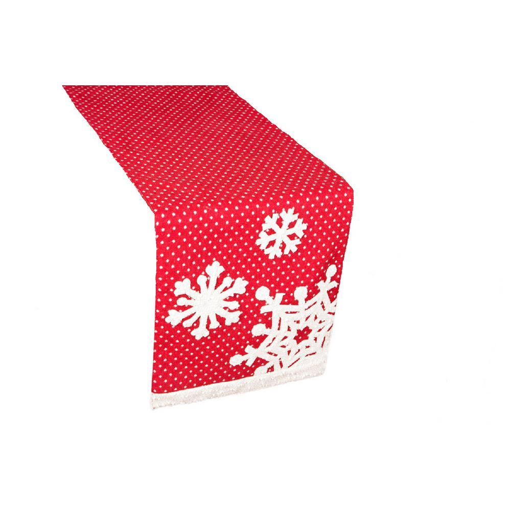 0.2 in. x 13 in. x 108 in. Snowflake Christmas Table Runner